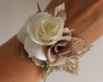 La boda ramillete de la muñeca, ramillete rosa oro beige marfil, ramillete de flor de novia dama de honor, ramillete de la muñeca de flor, baile, tela ramillete rosa ramillete