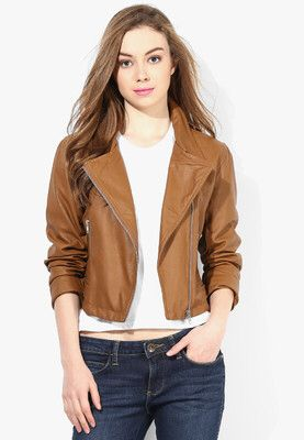 TAN WINTER JACKET Get a classic biker look wearing this tan coloured jacket for women by Lara Karen. This PU (polyurethane) jacket will ensure a comfortable fit. Team this jacket with jeans and high heels while heading for a weekend outing. http://m.jabong.com/Lara-Karen-TAN-WINTER-JACKET-1462221.html