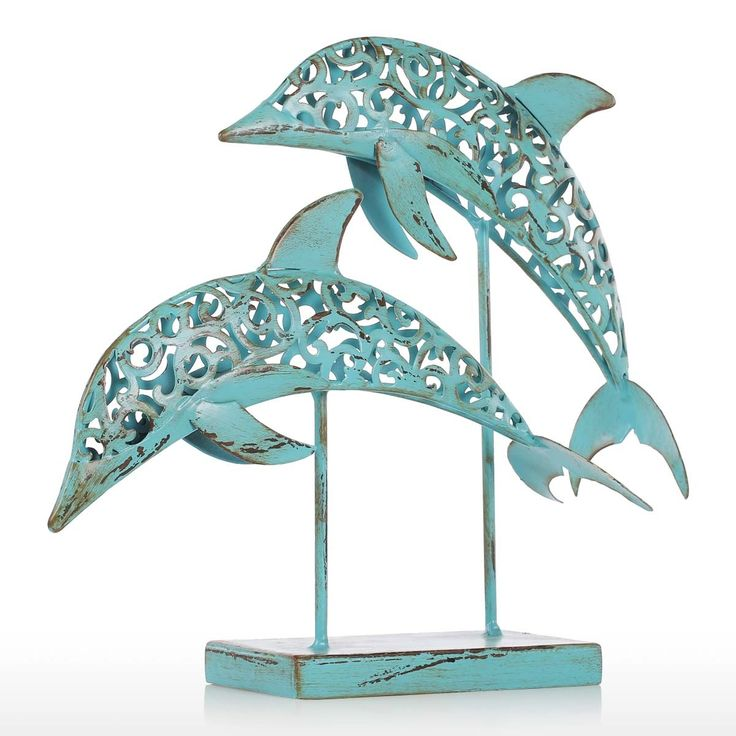 Two Blue Dolphins Iron Handmade Statue Design Statue Ornament Marine Life Retro Effect Sales Online Array - Tomtop