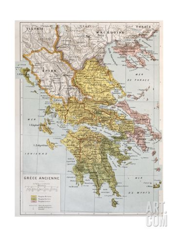Old Map Of Ancient Greece Art Print by marzolino at Art.com