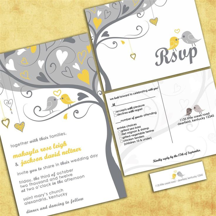 Custom Wedding Invitations - Gray and Yellow Lovebirds - Tweet Tweet Love Birdies Wedding Invitation Suite with RSVP postcards and labels by InvitingMoments on Etsy https://www.etsy.com/listing/73765911/custom-wedding-invitations-gray-and