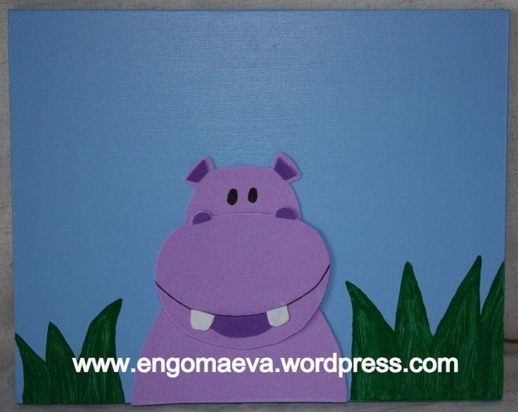 Bonito cuadro infantil: Hipopótamo (Madera y goma eva pintada a mano)   ---   Cute and pretty child: Hippopotamus  (Handmade painted wood and Paper eva) http://engomaeva.wordpress.com/