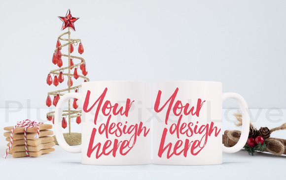 2 Christmas styled stock mug mock up by Plums Pixel Love on @creativemarket
