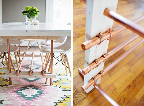 How to make a diy wood and copper pipe dining table for Table y copper tube