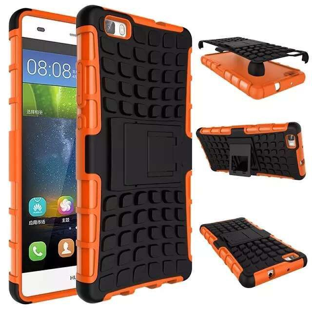Huawei P8 Lite Case TPU & PC Dual Armor Cover with Stand Holder Hard Silicone Armor Cover Shock Proof Anti-Skid Combo Back Case