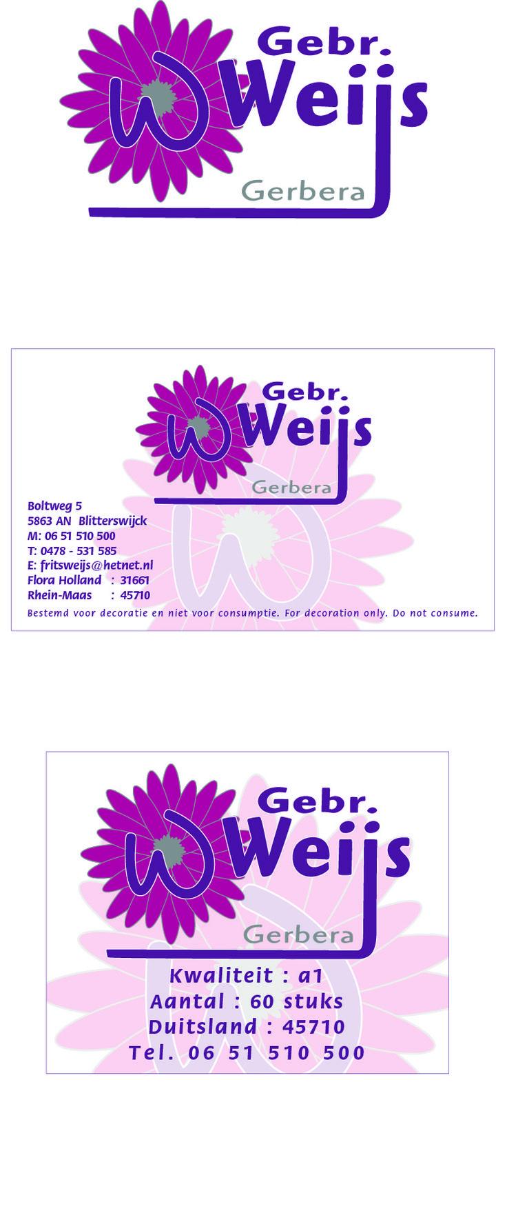 Ontwerp logo, veilingkaart en doos etiket voor Gebr. Weijs