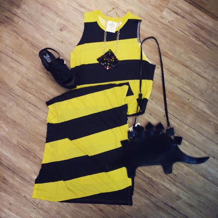 Cheap Monday SS15 long dress stripes Dino clutch