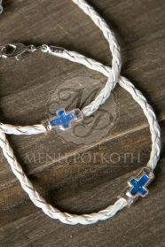 Μαρτυρικά βάπτισης δερμάτινο πλεκτό βραχιόλι με περαστό σταυρό σε μπλε χρώμα