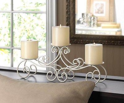 1 Tuscan Candelabra Candle Stand Large White Candleholder Wedding  Centerpiece