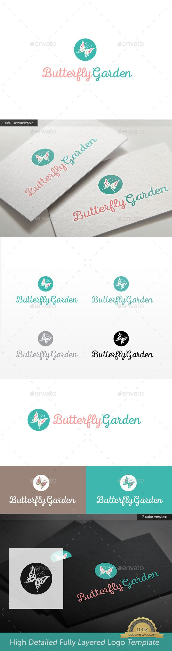 Logotype butterfly and letter b in different colour variants on a - Butterfly Garden Logo Design Template Vector Logotype Download It Here Http