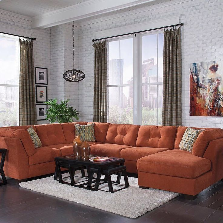delta city rust sectional sofa and armless loveseat with raf corner chaise