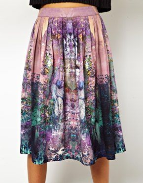 Image 3 ofASOS Midi Skirt in Enchanted Garden Print
