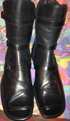 Roby & Pier Triple Strap Biker Inspired Boots Size 9.5 Sale $160.00. Roby &Pier update a punk staple in high-impact, polished leather. These refined, moto inspired boots have a gentle tapered profile. Three ankle straps triple the impact of the textured boot with an edgy biker vibe.