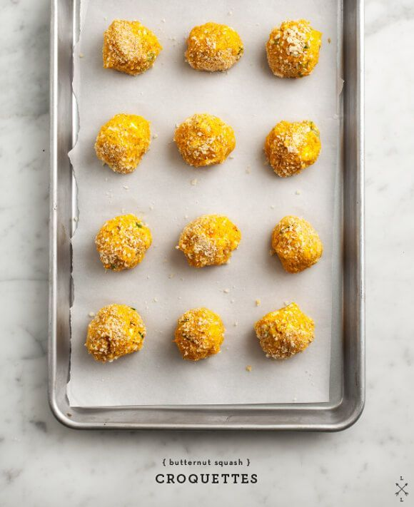 Butternut Squash Croquettes - Butternut Squash Croquettes - these healthy baked veggie fritters are a delicious appetizer or snack.