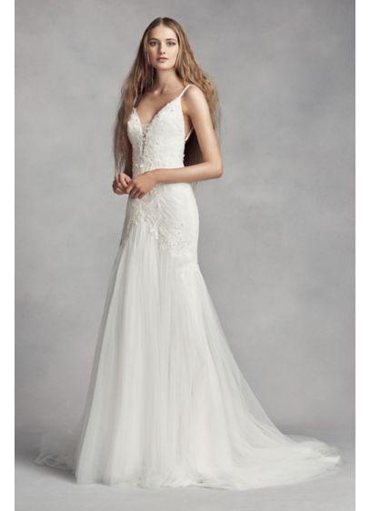 White by Vera Wang Plunging Sheath Wedding Dress VW351369