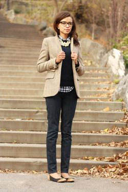 blazer, sweater, plaid, jeans, and pearls