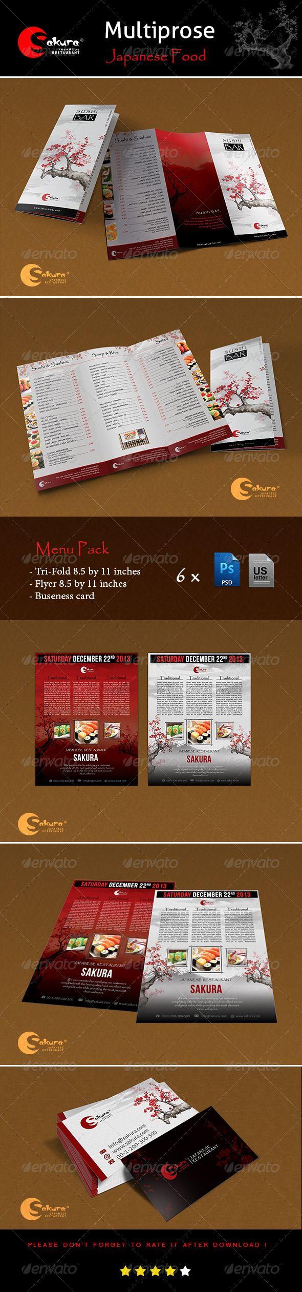 """Menu Pack """"Sakura"""" - Food Menus Print Templates Download here : http://graphicriver.net/item/menu-pack-sakura/5779998?s_rank=1288&ref=Al-fatih"""