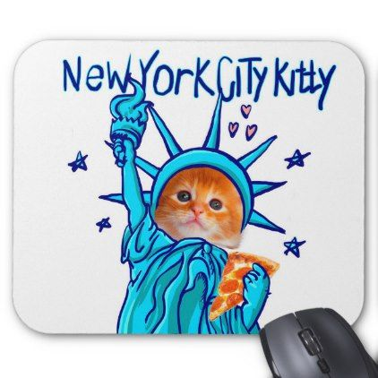 #Statue of liberty cat - orange cat - pizza cat mouse pad - #office #gifts #giftideas #business