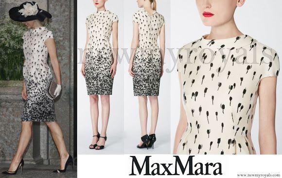 Crown Princess Mary wore Max Mara Printed Silk Dress for Swedish Prince Oscar's Christening Ceremony, and Gianvito Rossi Mesh Paneled Suede Pumps. www.newmyroyals.com