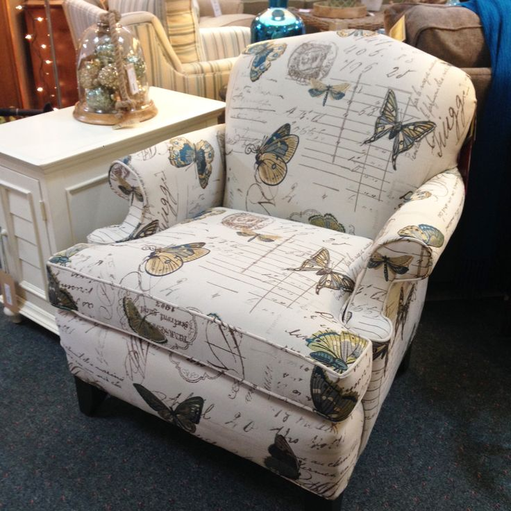 Small Accent Chair In Butterfly Fabric By Smith Brothers