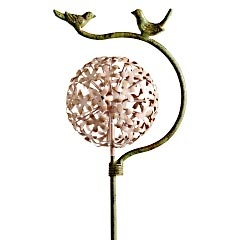 Pink Flower with Bird Stake