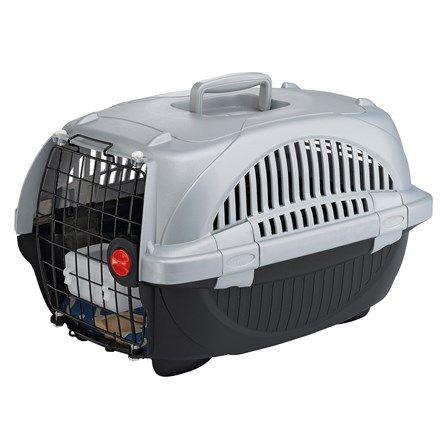 Caixa de Transporte Atlas Deluxe Cinza e Preto Ferplast - Este é um transportador de luxo para cães pequenos! Atlas Deluxe é feito de plástico com uma porta em aço revestido de plástico e é arredondado, com aberturas laterais úteis que proporcionam a máxima ventilação no interior. MeuAmigoPet.com.br #petshop #cachorro #cão #meuamigopet