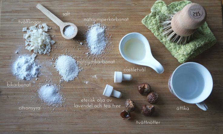 I mitt städskåp - ingredienser till hemgjorda rengöringsprodukter