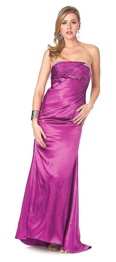 Eggplant Prom Dress Full Length Strapless Charmeuse Shirred Bodice Bead $159.99