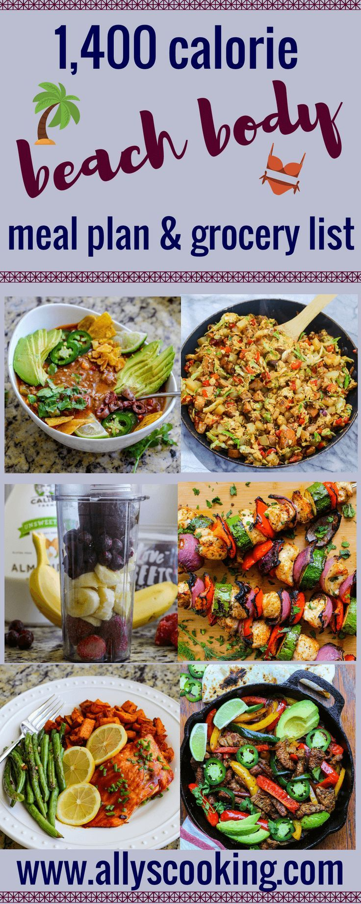 1,400 Calorie Beach Body Meal Plan & Grocery List | Healthy