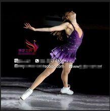 Púrpura vestidos mujeres competencia de patinaje artístico vestido de patinaje sobre hielo de encargo patinaje artístico ropa muchachas libera el envío