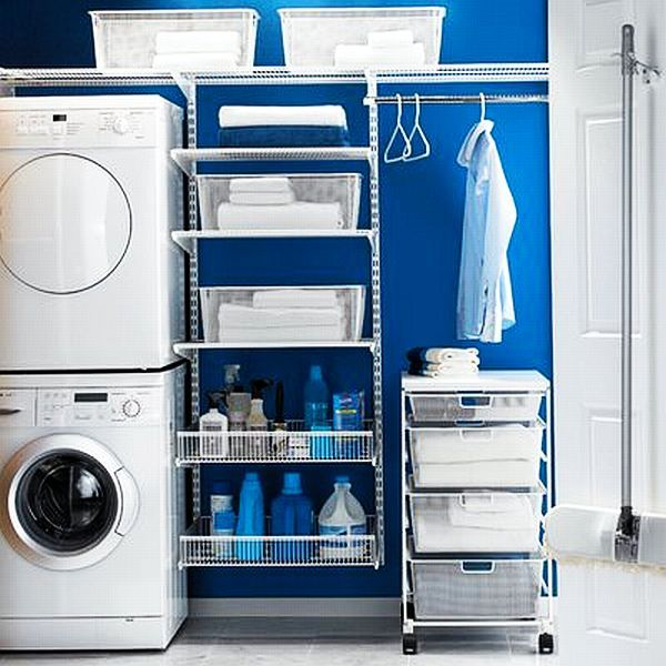 33 Coolest Laundry Room Design Ideas. great idea for a laundry room where you can't put up cabinets.  like this.