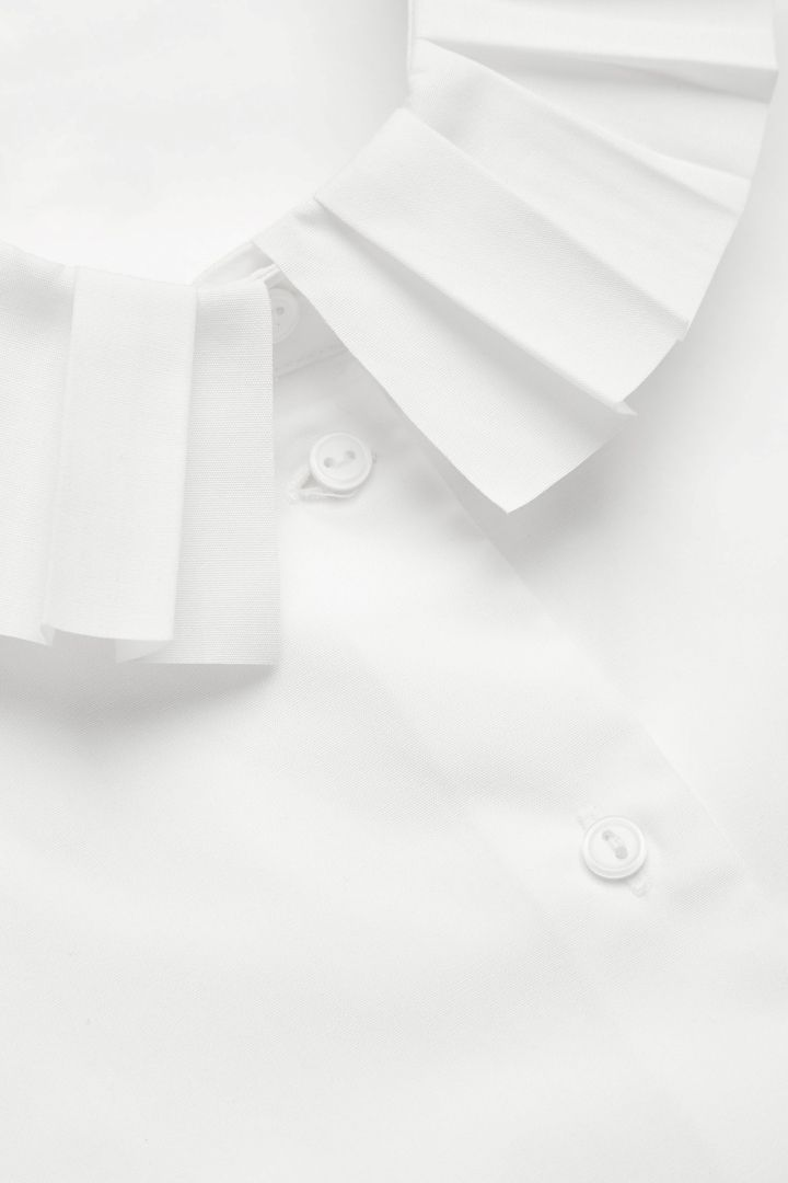 COS image 2 of Mock shirt with pleated collar in White