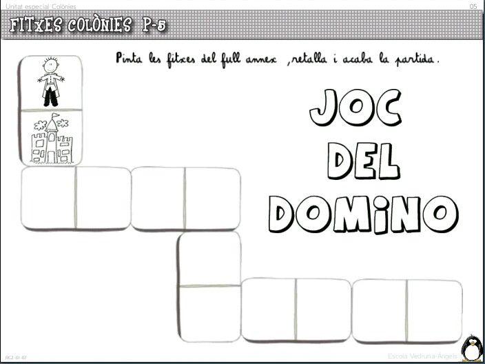 Domino on s'han d'enganxar les peces pintades i retallades del full annex