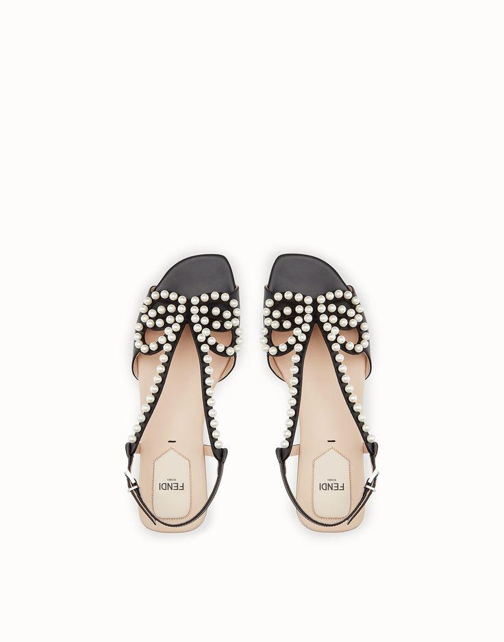 FENDI SANDALS - Black leather sandals - view 4 zoom