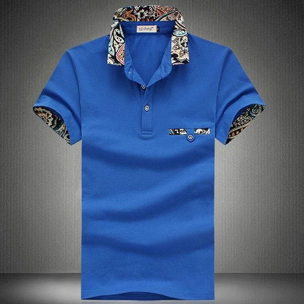 Floral Collar Men POLO Shirts Summer Style