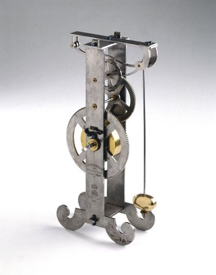 This 19th century model is based on a drawing by Galileo's (1564-1642) friend and biographer, Viviani, of an incomplete pendulum clock, which Galileo designed just before his death.