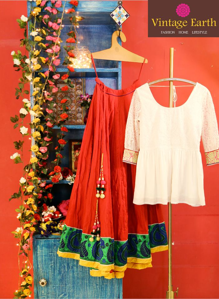 Red Mangalgiri South Cotton Skirt + Chalk Line Choli Cotton Silk  #Skirt #Indian
