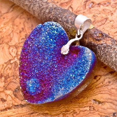 Amazing Sterling Silver .925 Blue Heart Shaped Titanium Iron Pyrite Pendant #721: Shape Titanium, 925 Blue, Silver 925, Heart Shape, Pyrit Pendants, Amazing Sterling, Blue Heart, Irons Pyrit, Pendants 721