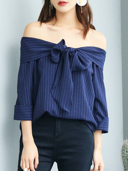 Navy Blue Polyester Off Shoulder Simple Bow Blouse