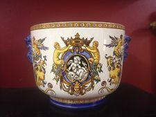 Superbe cache pot en faïence de Gien 19ème décor Renaissance