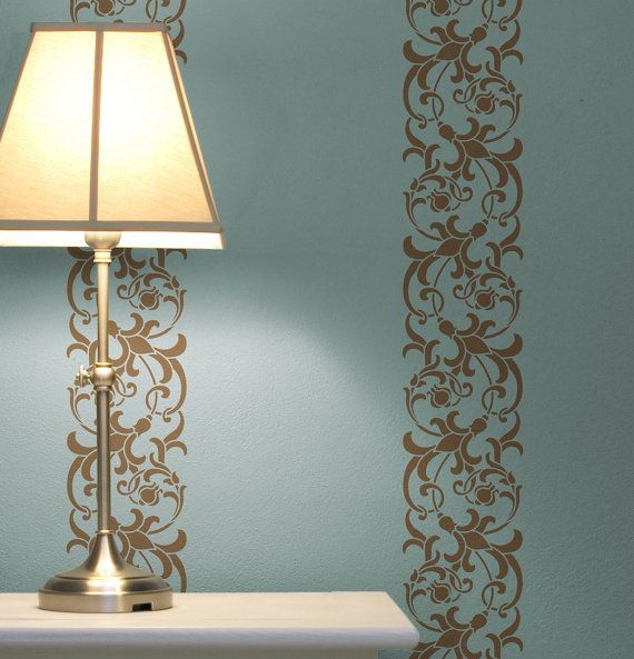 Foliate scroll border reusable wall stencils for by for Decorative scrollwork