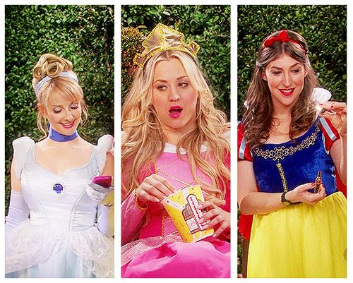 Bernadette, Penny, and Amy dressed up as Disney princesses :D