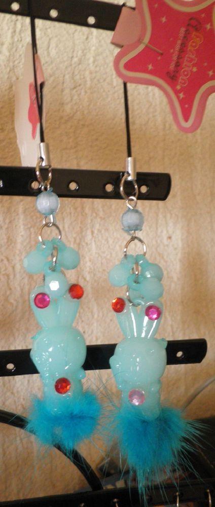 bijou de téléphone portable lapin bleu fourrure-strass diamant-perles à facette