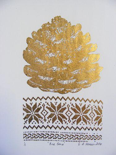 E A Hansen, Pine Cone, 2014, digital print with gold leaf