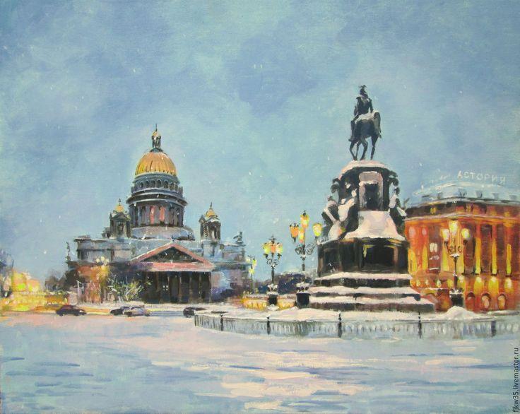 """Купить Картина маслом """" Исаакиевская площадь"""" - голубой, картина в подарок, картина для интерьера, картина"""