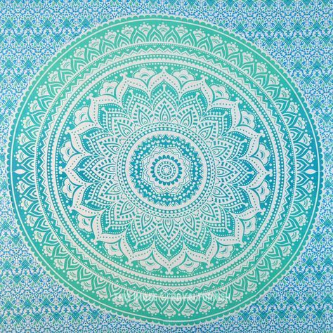 Small Green Floral Circle Ombre Wall Tapestry, Mandala Hippie Tapestry on RoyalFurnish.com, $15.45
