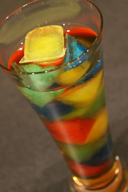 rainbow ice cubes. mix koolaid and pour into ice trays. then put in glass of sprite or gingerale! Makes a great punch too