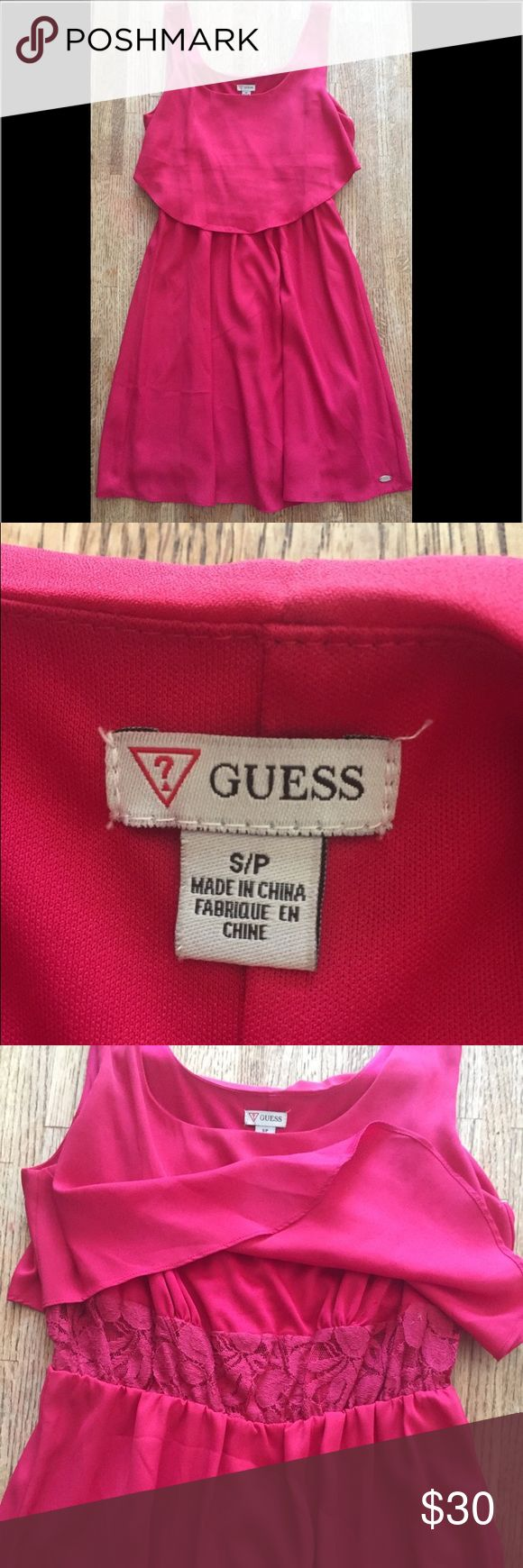 GUESS DRESS SIZE SMALL Very cute pink guess dress size small never worn in excellent shape! Guess Dresses