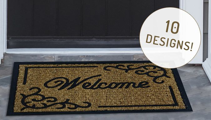 Buy Non-Slip Door Mat - 10 Designs UK deal for just: £6.99 A Non-Slip Door Mat will keep your home entrance neat      These natural coir rubber mats work both indoors and outdoors      Select from 10 fun designs to welcome people into your home      Choose from Welcome, Footprints, Geometric, Regal or Welcome Boarder      Or have Curve Petals, Fence, Flower, Pointed Petals, Semi Circle...