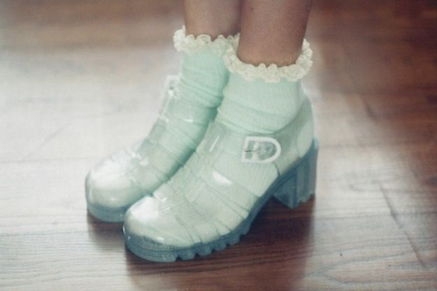 The Many Joys Of Jelly Shoes. Customised your jellyshoes with cute socks (socks available at primark for £1.50 a pair)